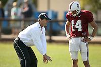 9 April 2007: Jim Harbaugh coaches Tavita Pritchard during spring practice in Stanford, CA.