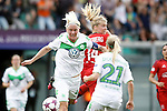 VfL Wolfsburg's Nilla Fischer (l) and Lara Dickenmann (r) and Olympique Lyonnais's Ada Hegerberg during UEFA Women's Champions League 2015/2016 Final match.May 26,2016. (ALTERPHOTOS/Acero)