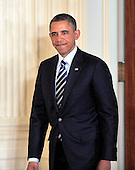 """United States President Barack Obama smiles as he enters the East Room of the White House to name White House Chief of Staff Jacob """"Jack"""" Lew as Secretary of the Treasury to replace Timothy Geithner in Washington, D.C. on Thursday, January 10, 2013..Credit: Ron Sachs / CNP"""