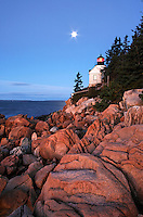 Bass Harbor Light overlooking the Atlantic Ocean, Bass Harbor, Acadia National Park, Hancock County, Maine, US