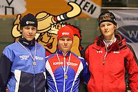 SCHAATSEN: HEERENVEEN: IJsstadion Thialf, 07-03-2008, VikingRace, Demian Roelofs (NED), Koen Verweij (NED), Adriaan van Velde (NED), ©foto Martin de Jong