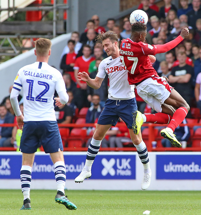 Preston North End's Alan Browne battles with Nottingham Forest's Alfa Semedo<br /> <br /> Photographer David Shipman/CameraSport<br /> <br /> The EFL Sky Bet Championship - Nottingham Forest v Preston North End - Saturday 31st August 2019 - The City Ground - Nottingham<br /> <br /> World Copyright © 2019 CameraSport. All rights reserved. 43 Linden Ave. Countesthorpe. Leicester. England. LE8 5PG - Tel: +44 (0) 116 277 4147 - admin@camerasport.com - www.camerasport.com