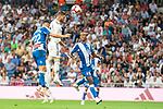 Real Madrid Sergio Ramos and RCD Espanyol Mario Hermoso and Naldo Gomes during La Liga match between Real Madrid and RCD Espanyol at Santiago Bernabeu Stadium in Madrid, Spain. September 22, 2018. (ALTERPHOTOS/Borja B.Hojas)