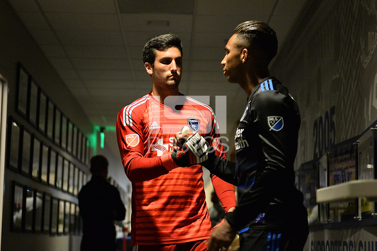 San Jose, CA - Saturday April 14, 2018: Andrew Tarbell, Danny Hoesen prior to a Major League Soccer (MLS) match between the San Jose Earthquakes and the Houston Dynamo at Avaya Stadium.