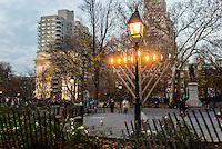 New York, NY 12 December 2015 - Chanukkah memorah in Washington Square Park