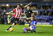 1st November 2017, St. Andrews Stadium, Birmingham, England; EFL Championship football, Birmingham City versus Brentford; Lasse Vibe of Brentford shoots but David Davis of Birmingham City blocks the ball with his body