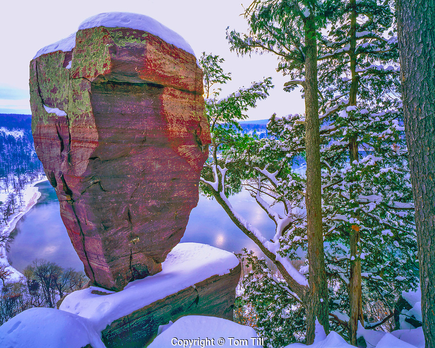Balanced Rock in Winter, Above Devils Lake, Devils Lake State Park, Wisconsin