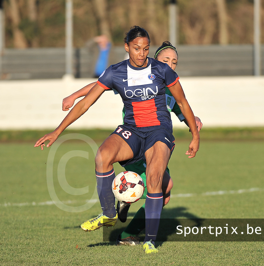 20131211 - HENIN-BEAUMONT , France :  PSG's Marie-Laure Delie pictured scoring for Paris during the female soccer match between FC Henin Beaumont and Paris Saint-Germain Feminin , of the Ninth matchday in the French First Female Division . Wednesday 11 December 2013. PHOTO DAVID CATRY