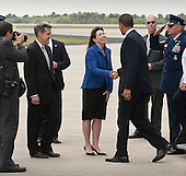 NASA Deputy Administrator Lori Garver shakes hands with United States President Barack Obama as she and NASA Kennedy Space Center Director Bob Cabana, left, welcome the President to Kennedy in Cape Canaveral, Florida on Thursday, April 15, 2010.  Obama visited Kennedy to deliver remarks on the bold new course the administration is charting to maintain U.S. leadership in human space flight. .Mandatory Credit: Bill Ingalls - NASA via CNP