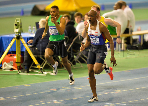 27.02.2016. EIS Sheffield, Sheffield, England. British Indoor Athletics Championships Day One. James Dasaolu on his way to winning his 60m Semi-Final.