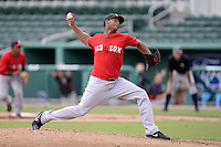 Boston Red Sox pitcher Jeffry Fernandez (89) during an Instructional League game against the Minnesota Twins on September 26, 2014 at jetBlue Park at Fenway South in Fort Myers, Florida.  (Mike Janes/Four Seam Images)