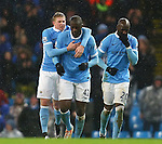Kevin De Bruyne of Manchester City congratulates Yaya Toure on his winning goal - Manchester City vs Swansea - Barclays Premier League - Etihad Stadium - Manchester - 12/12/2015 Pic Philip Oldham/SportImage