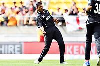 Blackcaps bowler Ish Sodhi celebrates the wicket of England's Jonny Bairstow during the Third ODI game between Black Caps v England, Westpac Stadium, Wellington, Saturday 03rd March 2018. Copyright Photo: Raghavan Venugopal / © www.Photosport.nz 2018