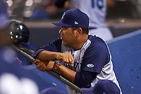 Brooklyn Cyclones coach Edgardo Alfonzo (13) during the second game of a doubleheader against the Connecticut Tigers on September 2, 2015 at Senator Thomas J. Dodd Memorial Stadium in Norwich, Connecticut.  Connecticut defeated Brooklyn 2-1.  (Mike Janes/Four Seam Images)