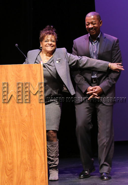 Inez Dickens and Robert Townsend performs at Woodie King Jr.'s New Federal Theatre 44th Anniversary Gala honoring Voza Rivers at BMCC Tribeca Performing Arts Center on March 16, 2014 in New York City.