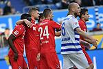 10.04.2019, Schauinsland-Reisen-Arena, Duisburg, GER, 2. FBL, MSV Duisburg vs. 1. FC Koeln,<br />  <br /> DFL regulations prohibit any use of photographs as image sequences and/or quasi-video<br /> <br /> im Bild / picture shows: <br /> Torjubel 1:1 Dominick Drexler (FC Koeln #24), Louis Schaub (FC Koeln #13),   Florian Kainz (FC Koeln #30), <br /> <br /> Foto © nordphoto / Meuter