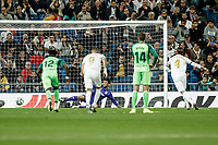 30th October 2019; Estadio Santiago Bernabeu, Madrid, Spain; La Liga Football, Real Madrid versus Leganes; Sergio Ramos (Real Madrid)  scores to make it 3-0 from the penalty spot in the 24th minute - Editorial Use