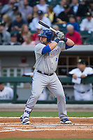 Kyle Roller (21) of the Durham Bulls at bat against the Charlotte Knights at BB&T BallPark on April 14, 2016 in Charlotte, North Carolina.  The Bulls defeated the Knights 2-0.  (Brian Westerholt/Four Seam Images)
