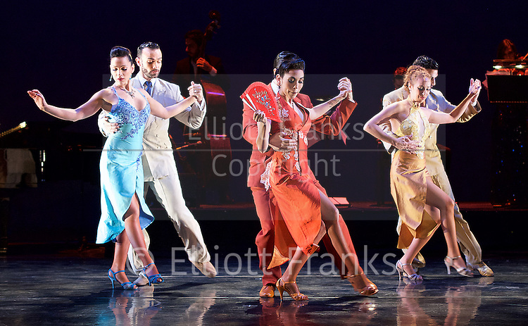 Tango Fire <br /> at The Peacock Theatre, London, Great Britain <br /> press photocall <br /> 30th January 2017 <br /> <br /> German Cornejo's Tango Fire<br /> <br /> <br /> <br /> <br /> 9 De Julio <br /> <br /> Sebastian &amp; Victoria <br /> Ezequiel &amp; Camila<br /> Mariano &amp; Florencia <br /> <br /> <br /> <br /> Photograph by Elliott Franks <br /> Image licensed to Elliott Franks Photography Services