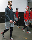Matt O'Connor (BU - 29) - The Boston University Terriers warmed up prior to the Frozen Four final at TD Garden on Saturday, April 11, 2015, in Boston, Massachusetts.