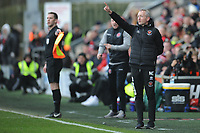 Blackpool manager Neil Critchley shouts instructions to his team from the dug-out <br /> <br /> Photographer Kevin Barnes/CameraSport<br /> <br /> The EFL Sky Bet League One - Fleetwood Town v Blackpool - Saturday 7th March 2020 - Highbury Stadium - Fleetwood<br /> <br /> World Copyright © 2020 CameraSport. All rights reserved. 43 Linden Ave. Countesthorpe. Leicester. England. LE8 5PG - Tel: +44 (0) 116 277 4147 - admin@camerasport.com - www.camerasport.com