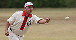 """Belleville Stags hurler Greg """"Buzz Saw"""" Eschman of Swansea pitches the ball during a game on August 4, 2012 at the Swansea Moose Lodge fields against the St. Louis Unions."""