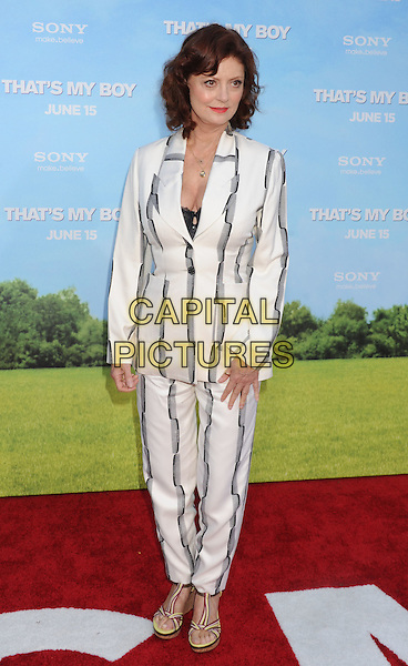"""Susan Sarandon.The Los Angeles premiere of """"That's My Boy"""" at Regency Village Theatre in Westwood, California, USA..June 4th, 2012 .full length white black grey gray striped stripes suit .CAP/ROT/TM.©Tony Michaels/Roth Stock/Capital Pictures"""