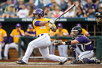 LSU Tigers first baseman Chris Chinea (26) follows through on his swing against the TCU Horned Frogs in Game 10 of the NCAA College World Series on June 18, 2015 at TD Ameritrade Park in Omaha, Nebraska. TCU defeated the Tigers 8-4, eliminating LSU from the tournament. (Andrew Woolley/Four Seam Images)
