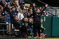 Seattle, WA - Sunday, September 11 2016: Seattle Reign FC head coach Laura Harvey reacts to a call during a regular season National Women's Soccer League (NWSL) match between the Seattle Reign FC and the Washington Spirit at Memorial Stadium. Seattle won 2-0.
