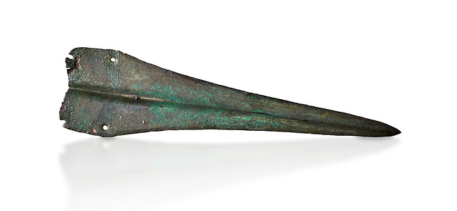 Cycladic bronze dagger.  Early Cycladic II (2800-2300 BC) , Phylakopi, Melos. National Archaeological Museum Athens. Cat no 9337.   White background.