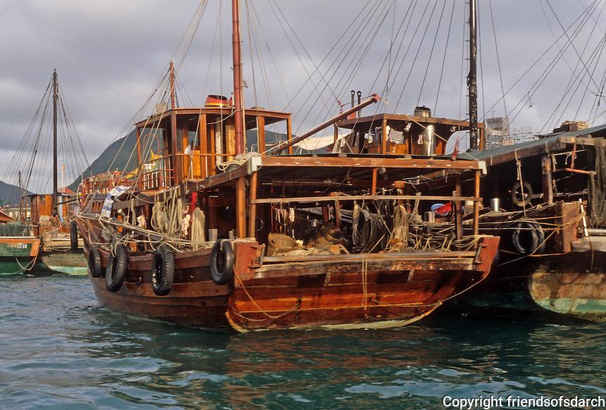 Hong Kong: Aberdeen--a junk on the waterfront. Photo '81.