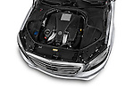 Car Stock 2017 Mercedes Benz S-Class S550 4 Door Sedan Engine  high angle detail view