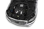 Car Stock 2017 Mercedes Benz S-Class S550 4 Door Sedan Engine  high angle detail view