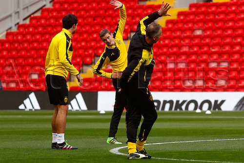 13.04.2016. Anfield, Liverpool, England. Europa League. Liverpool versus Borussia Dortmund Pre Match Press Conference and Training. Borussia Dortmund players training at Anfield ahead of tomorrow night's second of the Europa Cup quarter final versus Liverpool.