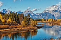 Ox Bow Bend in Teton National Park in autumn