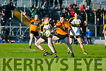 in Action Crokes Mark Fitzgerald and Stacks Ferdia O'Brien in  the Keanes Supervalu Killorglin Minor Football League Finals Division 1 Final at Austin Stacks park on Friday  Austin Stacks Vs Dr. Crokes