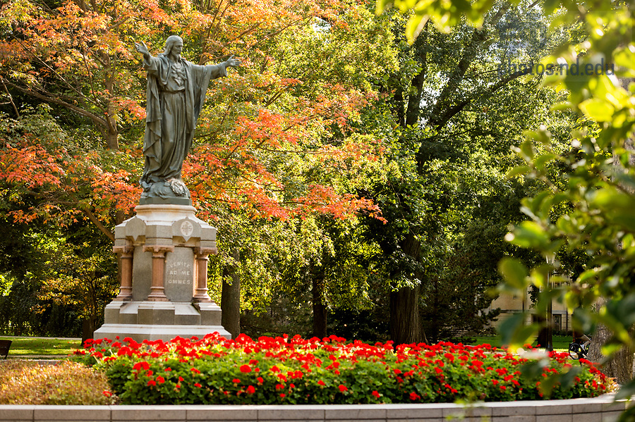 September 12, 2017; Sacred Heart Jesus Statue in the Main Quad. (Photo by Barbara Johnston/University of Notre Dame)
