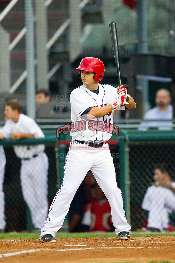 Stephen Perez (10) of the Hagerstown Suns at bat against the Delmarva Shorebirds at Municipal Stadium on April 11, 2013 in Hagerstown, Maryland.  The Shorebirds defeated the Suns 7-4 in 10 innings.  (Brian Westerholt/Four Seam Images)
