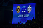 05.11.2019, Signal Iduna Park, Dortmund , GER, Champions League, Gruppenphase, Borussia Dortmund vs Inter Mailand, UEFA REGULATIONS PROHIBIT ANY USE OF PHOTOGRAPHS AS IMAGE SEQUENCES AND/OR QUASI-VIDEO<br /> <br /> im Bild | picture shows:<br /> Anzeigetafel | Spielstand 2:2,<br /> <br /> Foto © nordphoto / Rauch