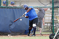 19 September 2012: France Rene Leveret hits the ball during the batting practice prior to Team France friendly game won 6-3 against Palm Beach State College, during the 2012 World Baseball Classic Qualifier round, in Lake Worth, Florida, USA.