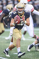 Annapolis, MD - October 8, 2016: Navy Midshipmen quarterback Will Worth (15) pitches the ball during game between Houston and Navy at  Navy-Marine Corps Memorial Stadium in Annapolis, MD.   (Photo by Elliott Brown/Media Images International)