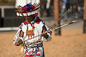 A Mexican contestant checks his arrows during the archery contest at the International Indigenous Games, in the city of Palmas, Tocantins State, Brazil. Photo © Sue Cunningham, pictures@scphotographic.com 28th October 2015