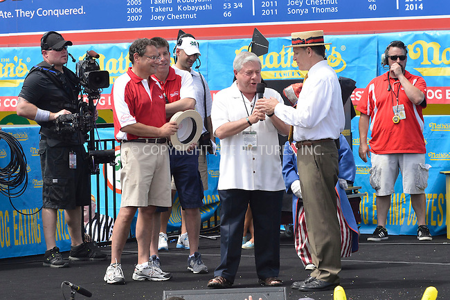 WWW.ACEPIXS.COM . . . . . <br /> July 4, 2013...New York City....Marty Markowitz at Nathan's Hotdog Eating Contest in Coney Island on  July 4, 2013 in New York City. ....Please byline: CURTIS MEANS - WWW.ACEPIXS.COM.. . . . . . ..Ace Pictures, Inc: ..tel: (212) 243 8787 or (646) 769 0430..e-mail: info@acepixs.com..web: http://www.acepixs.com