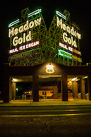 The Meadow Gold Sign has been a Route 66 icon since the 1930's.  Originally located at 11th and Lewis streets along historic route 66. A few years ago the builing it was mounted on was demolished but the sign was removed, restored and placed on a pavilion at 11th and Quaker.