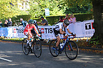 The chasers including Clara Koppenburg (GER) on the first circuit of Harrogate during the Women Elite Road Race of the UCI World Championships 2019 running 149.4km from Bradford to Harrogate, England. 28th September 2019.<br /> Picture: Seamus Yore | Cyclefile<br /> <br /> All photos usage must carry mandatory copyright credit (© Cyclefile | Seamus Yore)