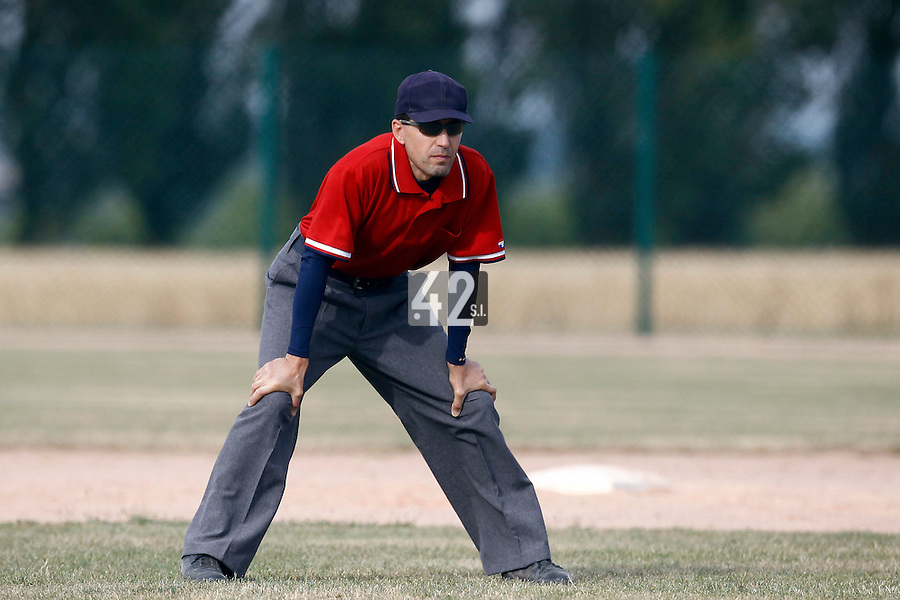 14 July 2011: Unidentified umpire is seen during the 2011 Challenge de France match won 7-2 by the Savigny Lions over the PUC, in Les Andelys, near Rouen, France.