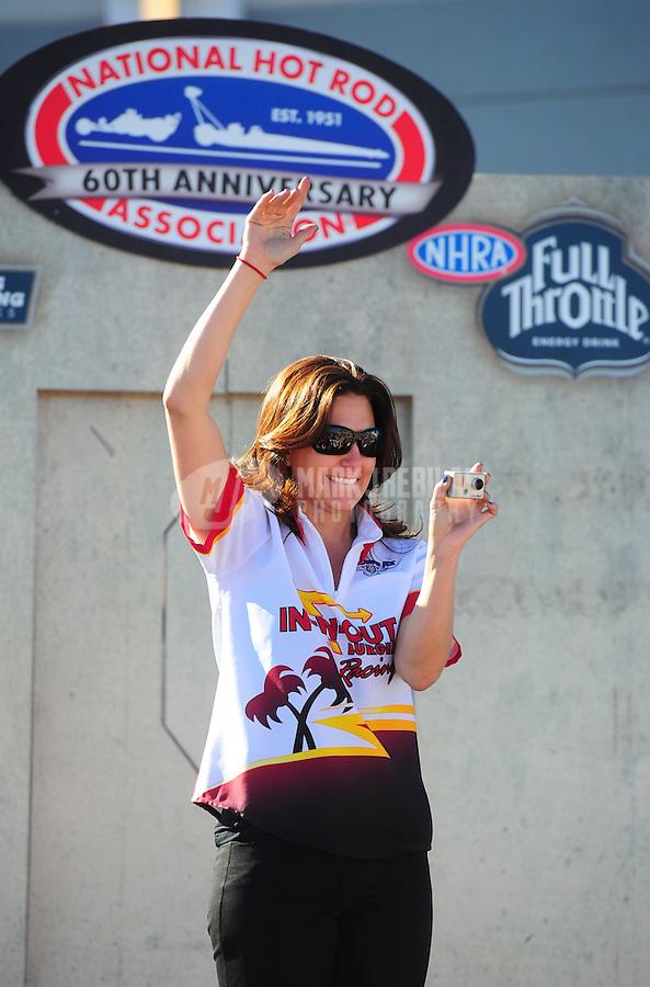 Oct. 30, 2011; Las Vegas, NV, USA: NHRA pro mod driver Melanie Troxel during the Big O Tires Nationals at The Strip at Las Vegas Motor Speedway. Mandatory Credit: Mark J. Rebilas-