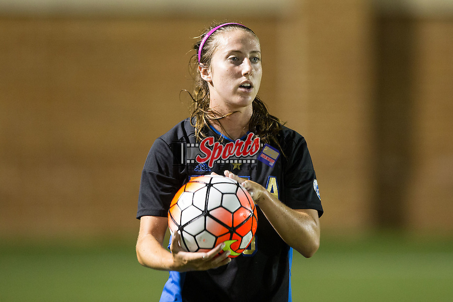 Zoey Goralski (26) of the UCLA Bruins prepares to throw the ball in during second half action against the Wake Forest Demon Deacons at Spry Soccer Stadium on September 11, 2015 in Winston-Salem, North Carolina.  The Bruins defeated the Demon Deacons 2-1.  (Brian Westerholt/Sports On Film)
