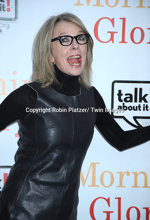 "Diane Keaton attending the World Premiere of "" Morning Glory"" starring Harrison Ford, Diane Keaton and Rachel McAdams on November 7, 2010 at The Ziegfeld Theatre in New York City."