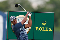 Tiger Woods (USA) tees off the 18th hole during the first round of the 118th U.S. Open Championship at Shinnecock Hills Golf Club in Southampton, NY, USA. 14th June 2018.<br /> Picture: Golffile | Brian Spurlock<br /> <br /> <br /> All photo usage must carry mandatory copyright credit (&copy; Golffile | Brian Spurlock)